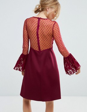 photo A-Line Mini Dress with Lace Frill & Fluted Long Sleeve by Elise Ryan, color Deep Wine - Image 2