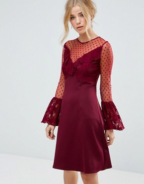 photo A-Line Mini Dress with Lace Frill & Fluted Long Sleeve by Elise Ryan, color Deep Wine - Image 1