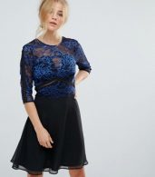 photo Lace Skater Dress with Ladder Trim by Elise Ryan, color Black/Blue - Image 1