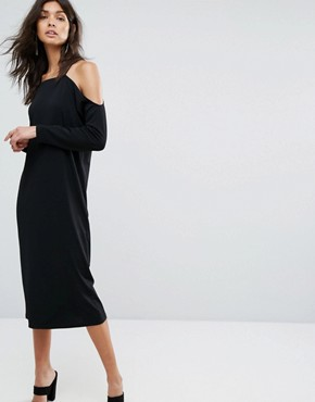 photo Off Shoulder Dress by Selected, color Black - Image 1