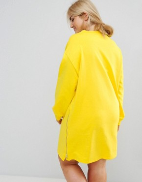 photo Oversized Sweat Dress with Zip Detail by ASOS CURVE, color Canary Yellow - Image 2