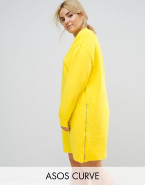 photo Oversized Sweat Dress with Zip Detail by ASOS CURVE, color Canary Yellow - Image 1