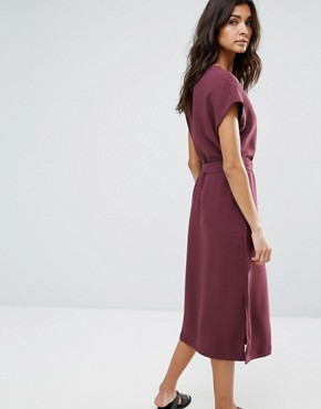 photo Tie Front Dress by Selected, color Mauve Wine - Image 2