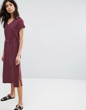 photo Tie Front Dress by Selected, color Mauve Wine - Image 1