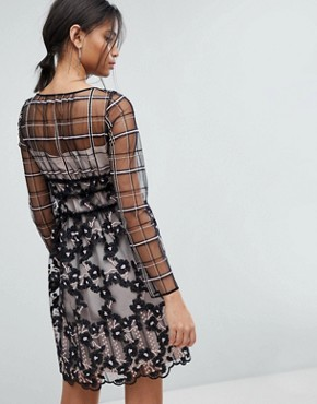 photo Embroidered Floral Mesh Dress by Tresophie, color Black Pattern - Image 2