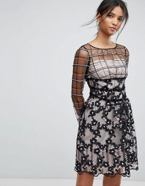 photo Embroidered Floral Mesh Dress by Tresophie, color Black Pattern - Image 1
