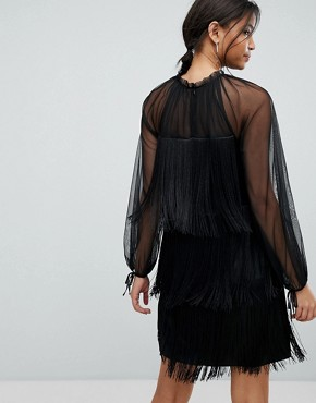 photo Tassle Ruffle Dress by Tresophie, color Black - Image 2