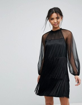 photo Tassle Ruffle Dress by Tresophie, color Black - Image 1