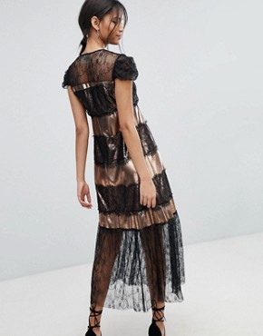 photo Metallic and Lace Midi Dress by Tresophie, color Black Copper - Image 2