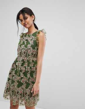 photo Embroidered Frill Dress by Tresophie, color Green Pattern - Image 1