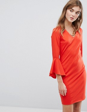 photo Fluted Sleeve Dress by Vila, color Fiery Red - Image 1