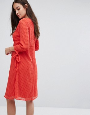 photo Spotty Mesh Swing Dress by Vila, color Red - Image 2