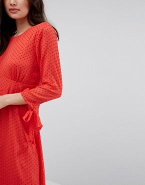 photo Spotty Mesh Swing Dress by Vila, color Red - Image 3