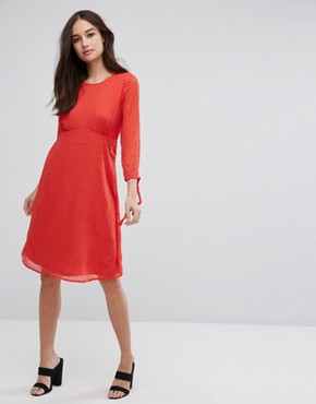 photo Spotty Mesh Swing Dress by Vila, color Red - Image 4