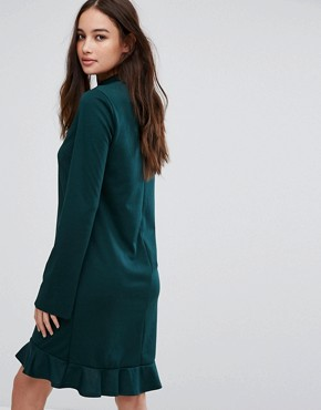 photo Frill Hem Long Sleeve Dress by Vila, color Pine Grove - Image 2