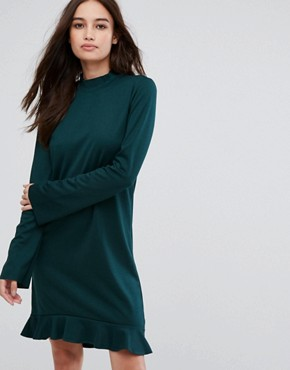photo Frill Hem Long Sleeve Dress by Vila, color Pine Grove - Image 1