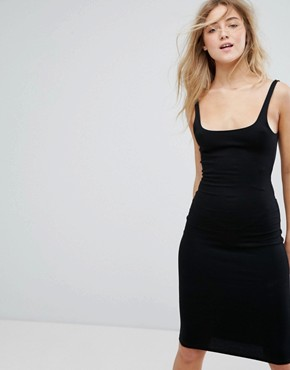 photo Midi Dress with Square Neck Line by Pull&Bear, color Black - Image 1