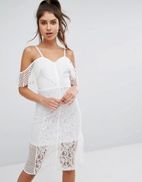 photo Lace Cold Shoulder Midi Dress by PrettyLittleThing, color White - Image 1