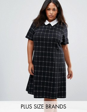 photo Check Skater Dress with Contrast Collar by Junarose, color Black - Image 1