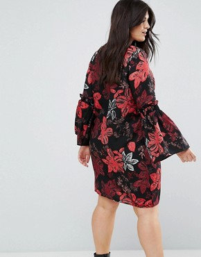 photo Floral Printed Dress with Fluted Sleeves by Junarose, color Aop - Image 2