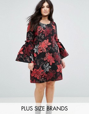 photo Floral Printed Dress with Fluted Sleeves by Junarose, color Aop - Image 1