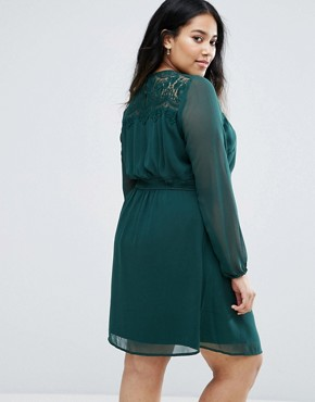 photo Lace Yoke Skater Dress by Junarose, color Green - Image 2