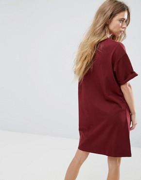 photo T-Shirt Dress with Rolled Sleeves by ASOS ULTIMATE, color Oxblood - Image 2