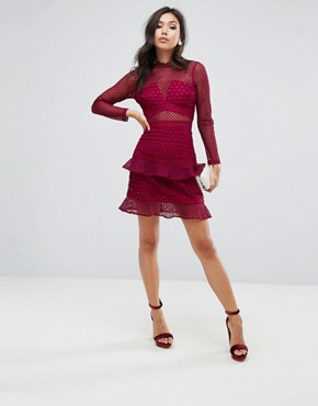 photo All Over Mesh Skater Dress with Ruffle Hem by True Decadence, color Berry - Image 4