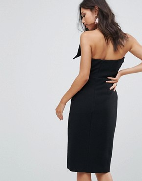 photo Bow Front Bandeau Pencil Dress with Split Detail by True Decadence, color Black - Image 2
