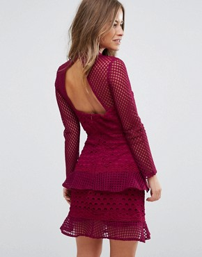 photo All Over Mesh Skater Dress with Ruffle Hem by True Decadence Petite, color Berry - Image 2