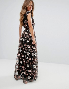 photo All Over Embroidered V-Neck Maxi Dress by True Decadence Petite, color Multi - Image 2