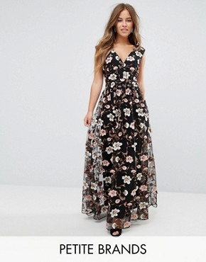photo All Over Embroidered V-Neck Maxi Dress by True Decadence Petite, color Multi - Image 1