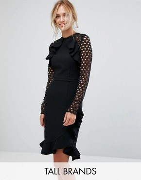 photo Wrap Front Dress with Lace Sleeve Detail by True Decadence Tall, color Black - Image 1