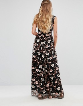 photo All Over Embroidered V-Neck Maxi Dress by True Decadence Tall, color Multi - Image 2