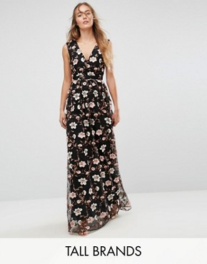 photo All Over Embroidered V-Neck Maxi Dress by True Decadence Tall, color Multi - Image 1