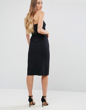 photo Bow Front Bandeau Pencil Dress with Split Detail by True Decadence Tall, color Black - Image 2