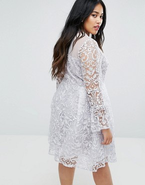photo All Over Embroidered Midi Skater Dress with Fluted Sleeve Detail by Truly You, color Silver - Image 2