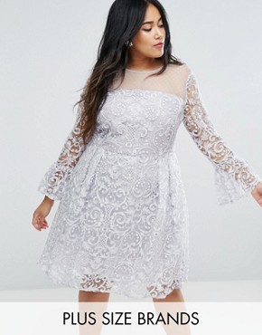 photo All Over Embroidered Midi Skater Dress with Fluted Sleeve Detail by Truly You, color Silver - Image 1