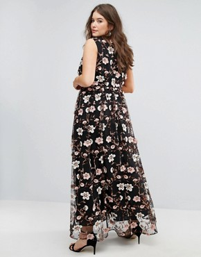 photo All Over Embroidered V-Neck Maxi Dress by Truly You, color Multi - Image 2
