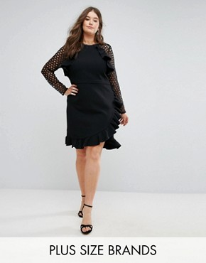 photo Wrap Front Dress with Lace Sleeve Detail by Truly You, color Black - Image 1