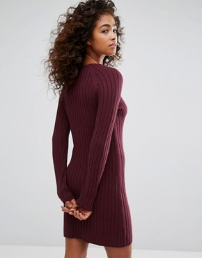 photo Knitted Ribbed Dress by Esprit, color Red Dark - Image 2