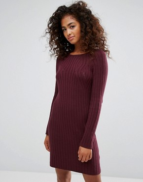 photo Knitted Ribbed Dress by Esprit, color Red Dark - Image 1