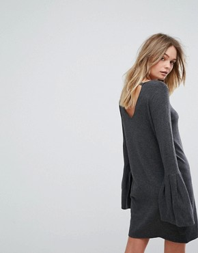 photo Bell Sleeve Knitted Jumper Dress by Vero Moda, color Dark Grey Melange - Image 2