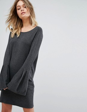 photo Bell Sleeve Knitted Jumper Dress by Vero Moda, color Dark Grey Melange - Image 1