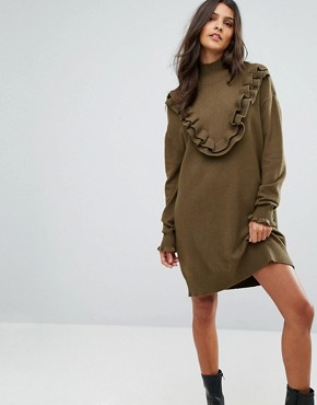 photo Jumper Dress with Ruffle Detail by Vero Moda, color Dark Olive - Image 1