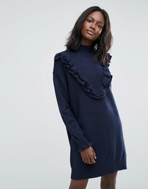 photo Jumper Dress with Ruffle Detail by Vero Moda, color Navy Blazer - Image 1