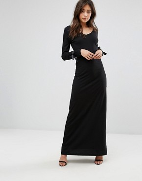 photo Maxi Dress with Tie Sleeve Detail by Only, color Black - Image 1