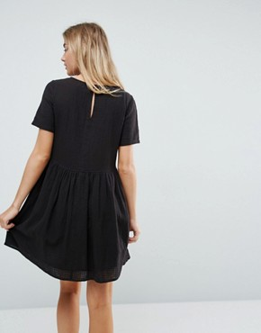 photo Casual Mini Smock Dress in Grid Texture by ASOS, color Black - Image 2