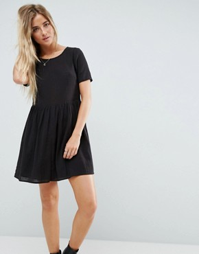 photo Casual Mini Smock Dress in Grid Texture by ASOS, color Black - Image 1