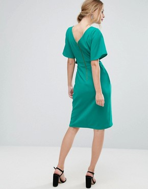 photo Tie Front Dress with Kimono Sleeve by Closet London, color Green - Image 2